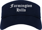 Farmington Hills Michigan MI Old English Mens Visor Cap Hat Navy Blue