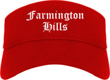 Farmington Hills Michigan MI Old English Mens Visor Cap Hat Red