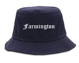 Farmington Michigan MI Old English Mens Bucket Hat Navy Blue