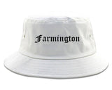 Farmington Michigan MI Old English Mens Bucket Hat White