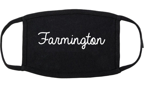 Farmington Utah UT Script Cotton Face Mask Black