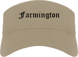 Farmington Utah UT Old English Mens Visor Cap Hat Khaki