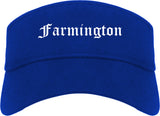 Farmington Utah UT Old English Mens Visor Cap Hat Royal Blue
