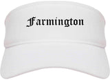 Farmington Utah UT Old English Mens Visor Cap Hat White
