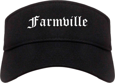 Farmville Virginia VA Old English Mens Visor Cap Hat Black