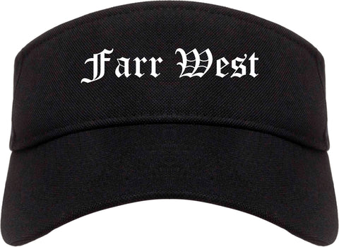 Farr West Utah UT Old English Mens Visor Cap Hat Black