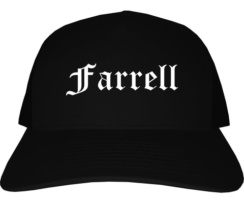 Farrell Pennsylvania PA Old English Mens Trucker Hat Cap Black