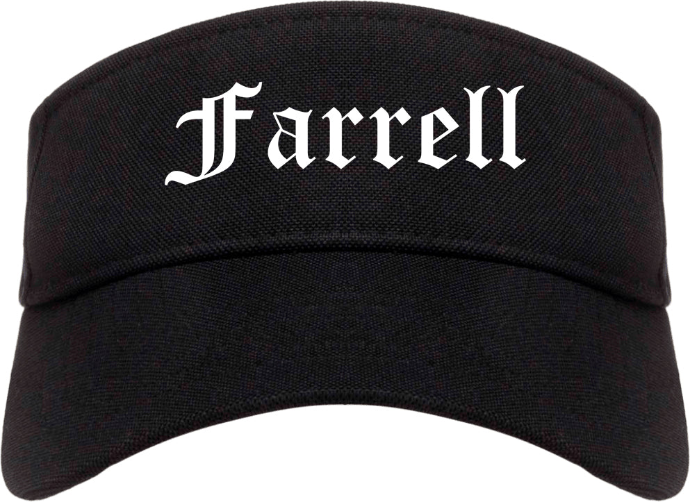 Farrell Pennsylvania PA Old English Mens Visor Cap Hat Black