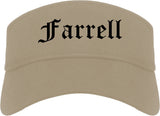 Farrell Pennsylvania PA Old English Mens Visor Cap Hat Khaki