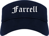 Farrell Pennsylvania PA Old English Mens Visor Cap Hat Navy Blue