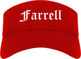 Farrell Pennsylvania PA Old English Mens Visor Cap Hat Red