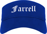 Farrell Pennsylvania PA Old English Mens Visor Cap Hat Royal Blue