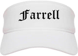 Farrell Pennsylvania PA Old English Mens Visor Cap Hat White