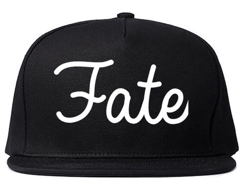 Fate Texas TX Script Mens Snapback Hat Black