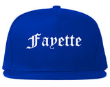 Fayette Alabama AL Old English Mens Snapback Hat Royal Blue