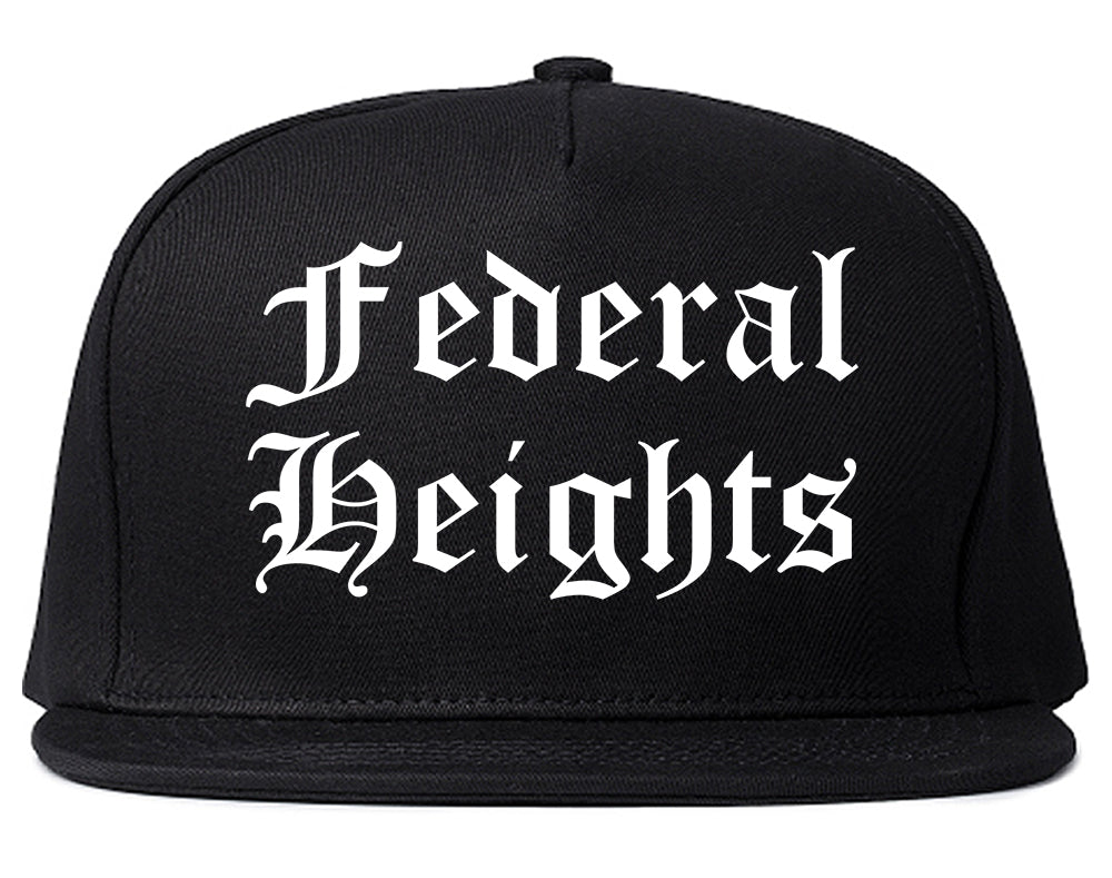 Federal Heights Colorado CO Old English Mens Snapback Hat Black