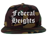 Federal Heights Colorado CO Old English Mens Snapback Hat Army Camo