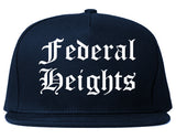 Federal Heights Colorado CO Old English Mens Snapback Hat Navy Blue