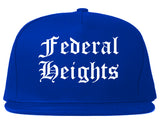 Federal Heights Colorado CO Old English Mens Snapback Hat Royal Blue