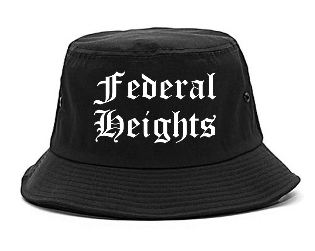 Federal Heights Colorado CO Old English Mens Bucket Hat Black