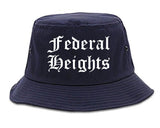 Federal Heights Colorado CO Old English Mens Bucket Hat Navy Blue
