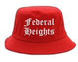Federal Heights Colorado CO Old English Mens Bucket Hat Red