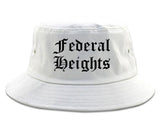 Federal Heights Colorado CO Old English Mens Bucket Hat White