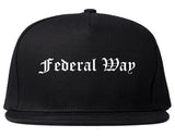 Federal Way Washington WA Old English Mens Snapback Hat Black