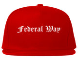 Federal Way Washington WA Old English Mens Snapback Hat Red