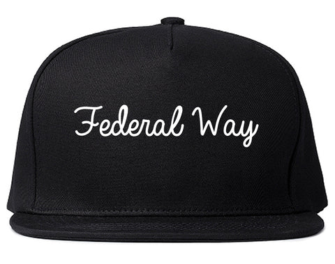 Federal Way Washington WA Script Mens Snapback Hat Black
