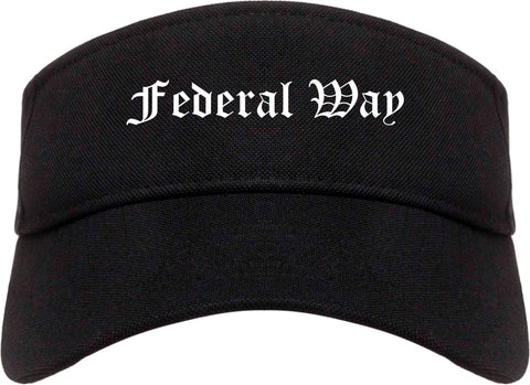 Federal Way Washington WA Old English Mens Visor Cap Hat Black