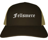 Fellsmere Florida FL Old English Mens Trucker Hat Cap Brown