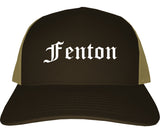Fenton Michigan MI Old English Mens Trucker Hat Cap Brown