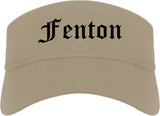 Fenton Michigan MI Old English Mens Visor Cap Hat Khaki