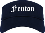 Fenton Michigan MI Old English Mens Visor Cap Hat Navy Blue