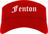 Fenton Michigan MI Old English Mens Visor Cap Hat Red