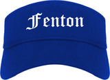 Fenton Michigan MI Old English Mens Visor Cap Hat Royal Blue