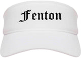 Fenton Michigan MI Old English Mens Visor Cap Hat White
