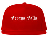 Fergus Falls Minnesota MN Old English Mens Snapback Hat Red