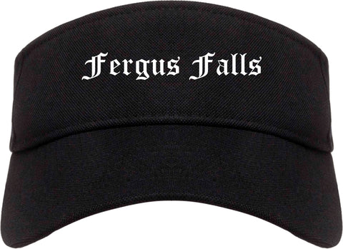 Fergus Falls Minnesota MN Old English Mens Visor Cap Hat Black
