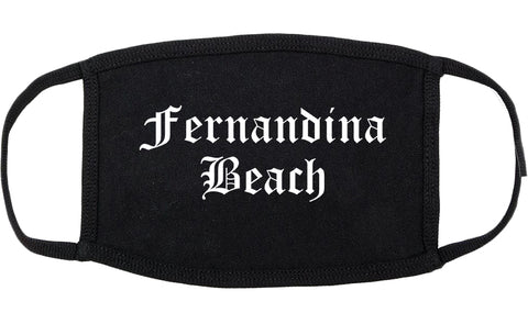 Fernandina Beach Florida FL Old English Cotton Face Mask Black