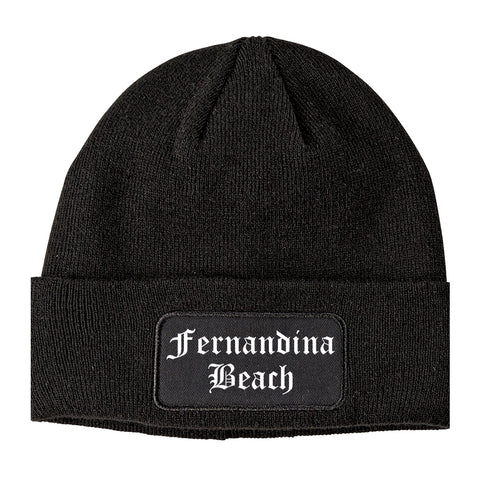 Fernandina Beach Florida FL Old English Mens Knit Beanie Hat Cap Black