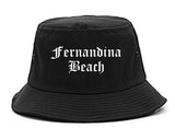 Fernandina Beach Florida FL Old English Mens Bucket Hat Black