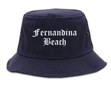 Fernandina Beach Florida FL Old English Mens Bucket Hat Navy Blue