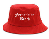 Fernandina Beach Florida FL Old English Mens Bucket Hat Red