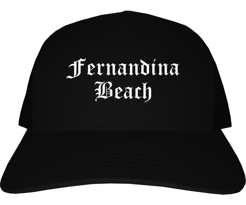 Fernandina Beach Florida FL Old English Mens Trucker Hat Cap Black