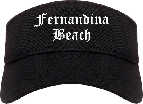 Fernandina Beach Florida FL Old English Mens Visor Cap Hat Black