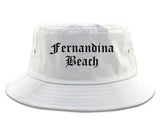 Fernandina Beach Florida FL Old English Mens Bucket Hat White
