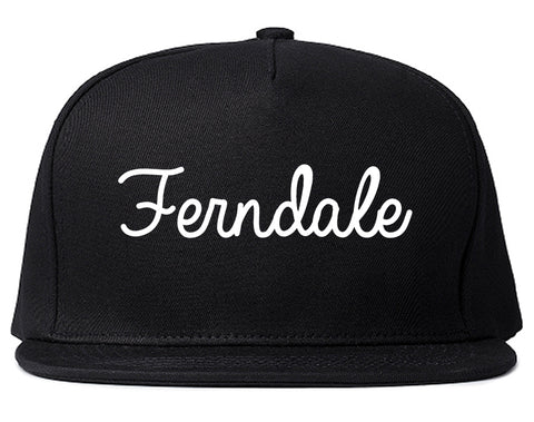 Ferndale Washington WA Script Mens Snapback Hat Black