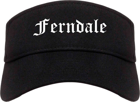 Ferndale Washington WA Old English Mens Visor Cap Hat Black